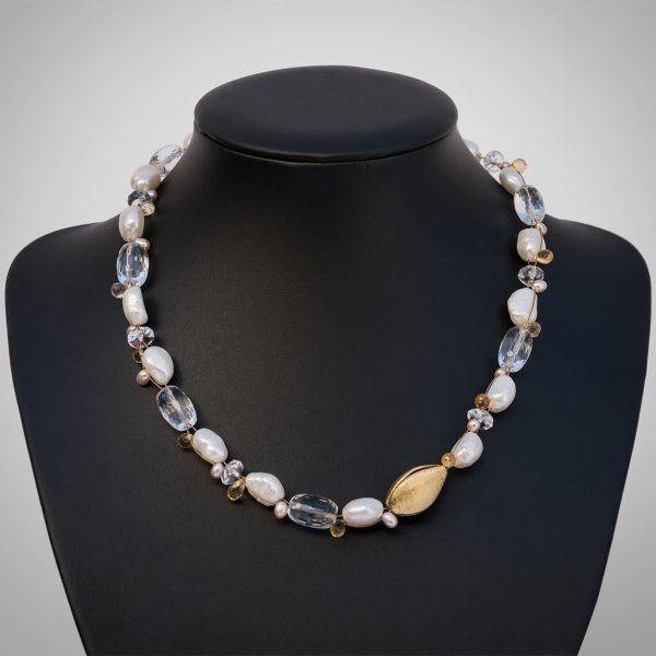 Perlen, Bergkristall, Citrin