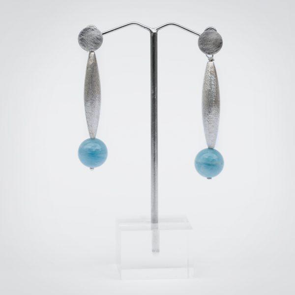 Ohrringe aus Aquamarin und Silber 925.